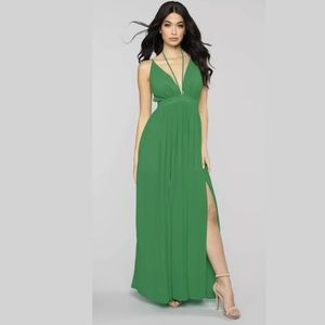 Kelly green v neck halter detail maxi dress